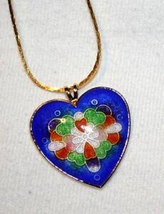 Colorful-Blue-Enamel-Cloisienne-Heart-Pendant-Necklace