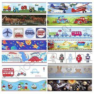 Boys Themed Wallpaper Borders Kids Bedroom Cars Dinosaur Space