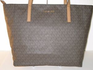 87faa2d1f473 MICHAEL Michael Kors MK Brown PVC Large Rivington Top Zip Tote Bag ...