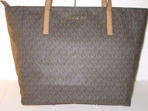 248e74967245 MICHAEL Michael Kors MK Brown PVC Large Rivington Top Zip Tote Bag ...