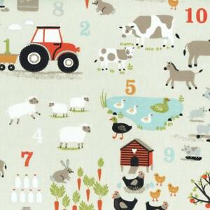 Textiles-francais-Learn-To-Count-On-The-Farm-fabric-100-Cotton-160-cm-wide