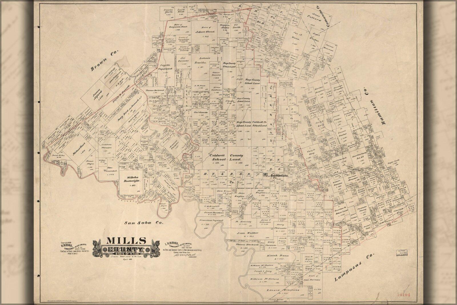 Plakat, Viele Größen; Karte von Mills Grafschaft, State Of Texas 1888