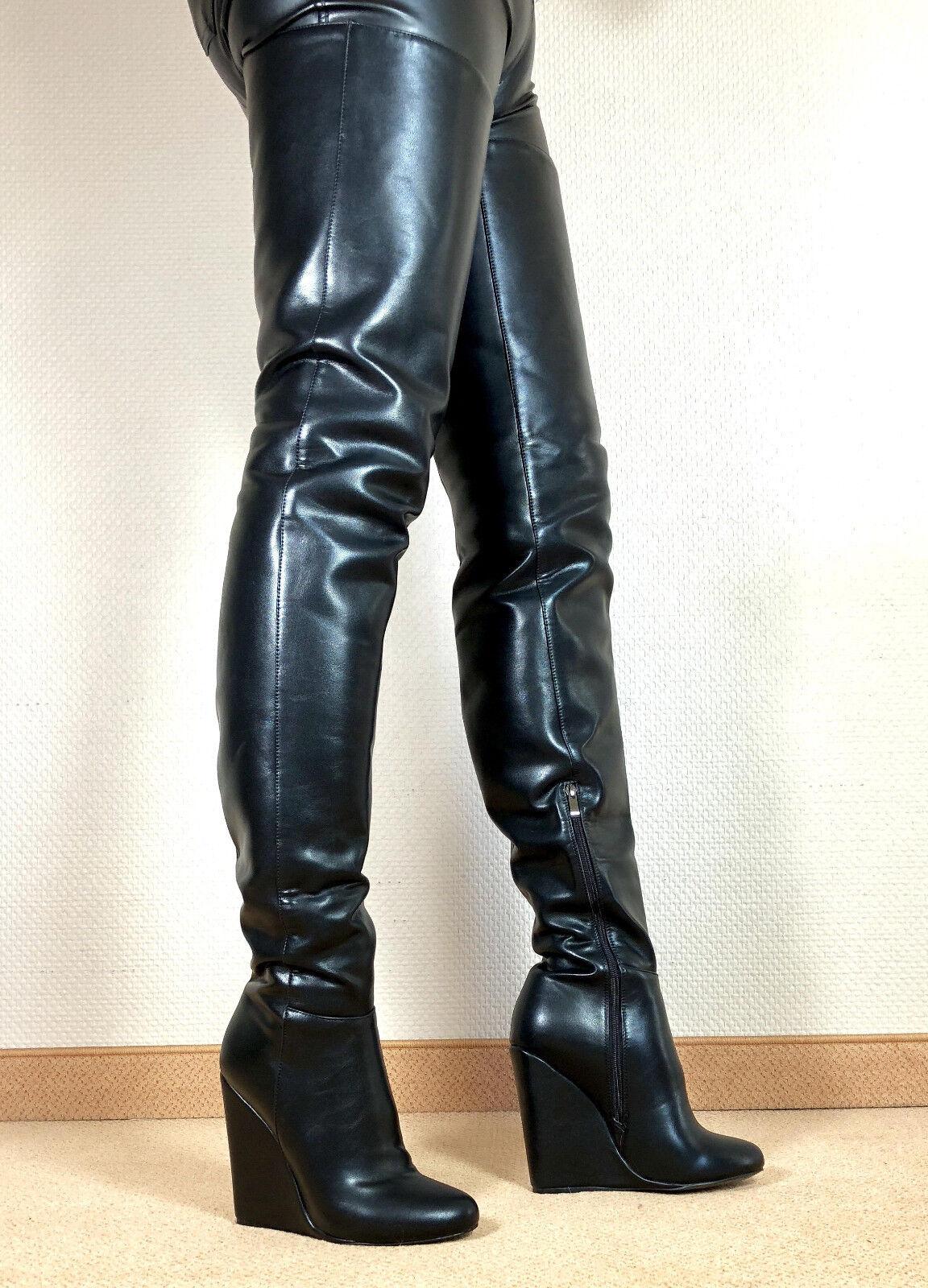 Grandes zapatos con descuento Gr.46 TOP ! Exklusiv Sexy Damen Schuhe Overknee Wedges Stiefel Männer Boots E8