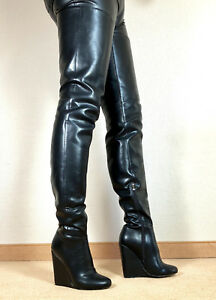 Gr-45-TOP-SP-Exklusiv-Sexy-Damen-Schuhe-Overknee-Wedges-Stiefel-Maenner-Boots-E8