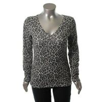 Famous Catalog Gray Knit Animal Print V-neck Pullover Top Shirt Xl -