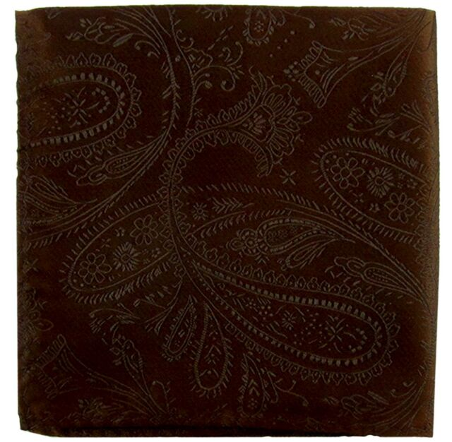 New Men/'s Polyester Woven pocket square hankie only brown paisley prom wedding