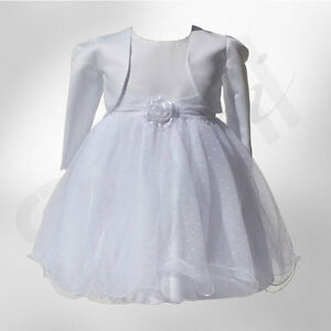 77e8324a077d2 Image is loading Baby-Girls-White-Christening-Wedding-Dress-Bolero-Jacket-