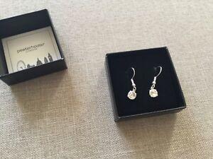 a750137e9 Image is loading pewterhooter-drop-earrings-sparkling-SWAROVSKI-crystal-925- Sterling-