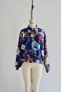 1980S-Liz-Claiborne-Nautical-Cropped-Sailor-Bomber-Jacket-Windbreaker-Rare-Fashi