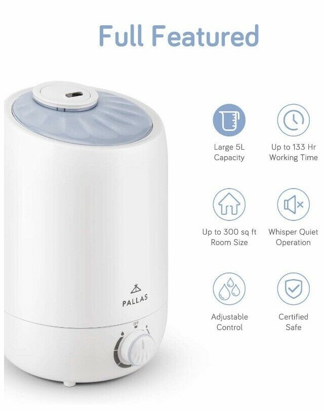 Pallas 5l Cool Mist Ultrasonic Humidifier Vaporizer Adjustable 360 Rotatable For Sale Online