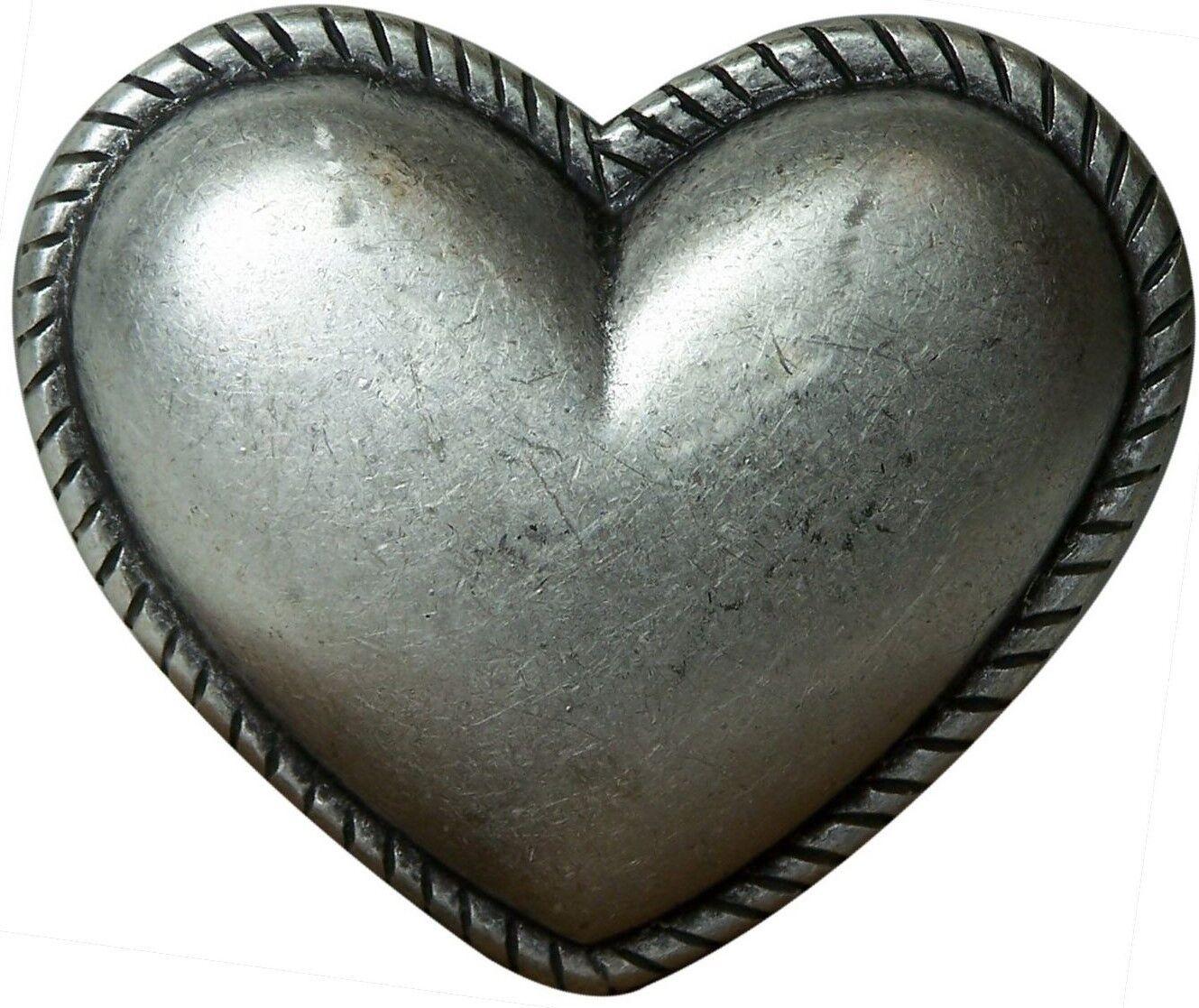 FRONHOFER Heart belt buckle, antique silver, for women, 1.5