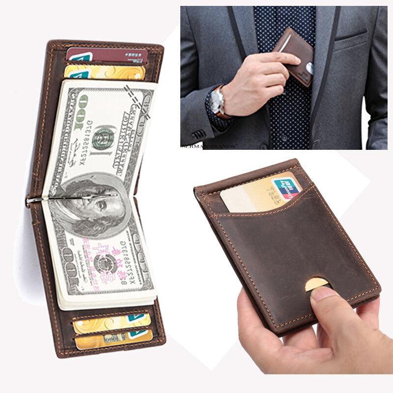 Brown Men's Vintage Genuine Leather Wallet Slim Money Clip Credit Card Holder