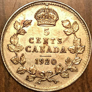 1920-CANADA-SILVER-5-CENTS-COIN-Excellent-example