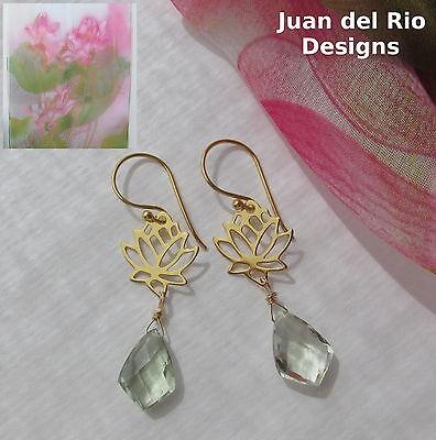 VERWÖHNSET* Lotus-Schal* Prasiolith grüne Amethyst Ohrringe 925 Silber 22K Gold