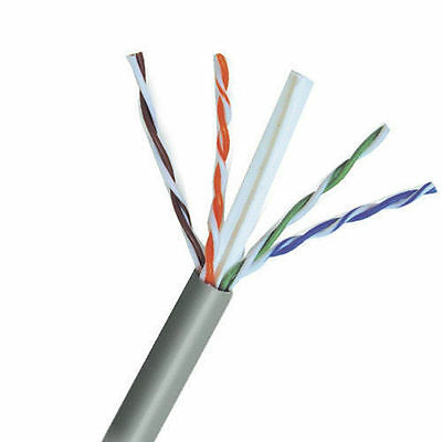 CAT6E Ethernet 550MHz Riser CMR Cable Gray 1000FT 23 AWG BARE COPPER