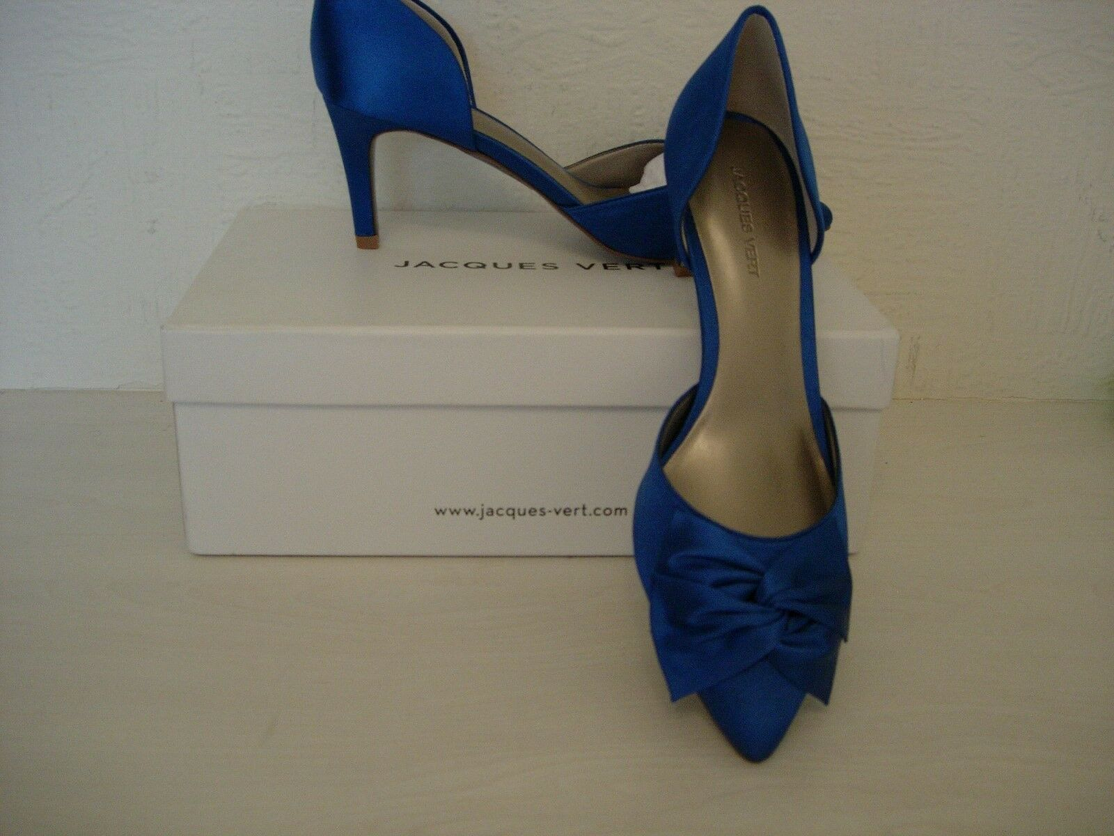 JACQUES green PETITE RIVIERA SATIN SHOES  -MID-blueE SIZE 5 -NEW