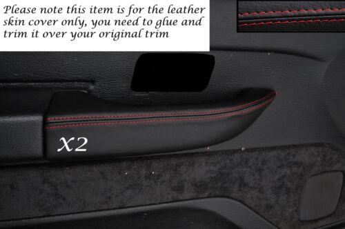 Red stitch 2x poignée de porte avant pleine peau housse s/' adapte à Range Rover P38 94-98