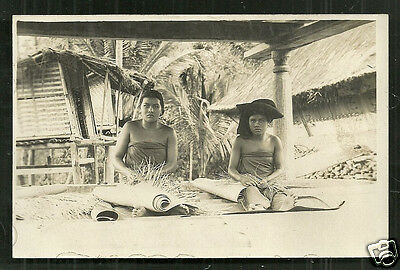 Batak Women weaving Mat rppc Sumatra Indonesia 1927