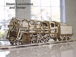 Details About Steam Locomotive Train Model 3d Wood Puzzle Diy Mechanical Toy Assembly Gear Kit