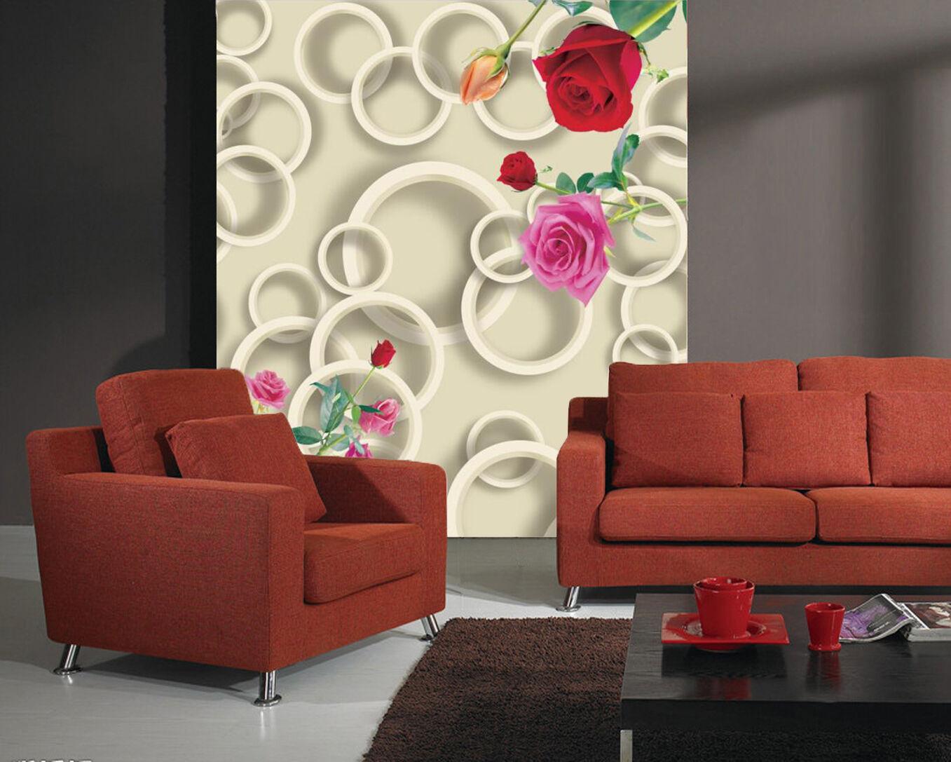 3D Circle Red pinks Flower 2888 Wall Paper Wall Print Decal Wall AJ WALLPAPER CA