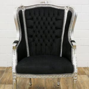 barock sessel silber schwarz baroque chair barok stoel barockstil ohrensessel ebay. Black Bedroom Furniture Sets. Home Design Ideas