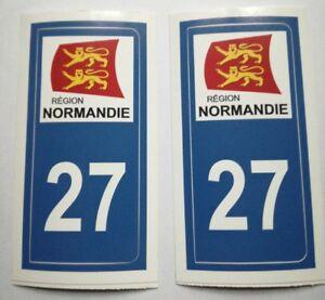 2 Stickers Autocollant Pour Plaque Immatriculation Département 27 Eure Normandie Les Produits Sont Vendus Sans Limitations