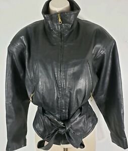 Leather-Jacket-S-Small-Womens-Vintage-MOTORCYCLE-Jacket-Crop-Biker-Coat-2342