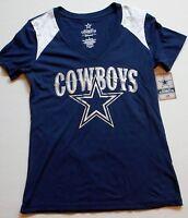 Dallas Cowboys Authentic Apparel Women's S/s T Shirt S M L Xl Blue Silver White