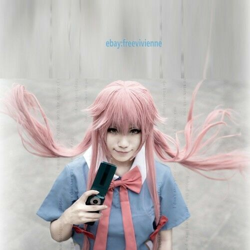 EW Future Diary Mirai Nikki Gasai Yuno Rouge Pink Cosplay party wig+ wig cap