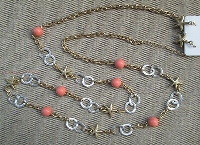 "New 36"" Long Gold Silver Loop Starfish Beach Necklace Earring Set Coral Layer"