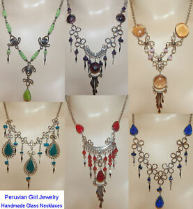 4-NECKLACES-MURANO-GLASS-EXOTIC-JEWELRY-PERU-HAND-MADE