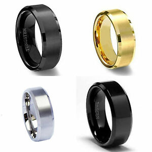Wedding Rings Men Women Tungsten Gold Silver Black Couples