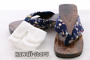 gr g Blau 04 Yukata Holz Blue 38 Japan Sandale K Für Kimono Geta 5cm 24 Socken 6dFatw5q