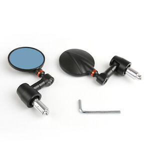 Moto-Bike-Rond-Retroviseur-7-8-034-Bar-End-Mirrors-Universal-Black