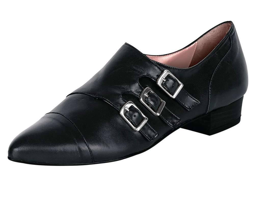 Heine Slipper, schwarz Leder Hand Damenschuhe Hand Leder gefertigt 8b0179