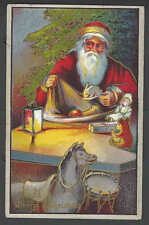 1908 PPC* Merry Xmas W/Santa & Toys Drum Dolls & Horses Embossed Posted