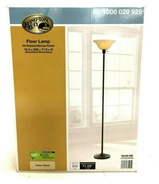 Hampton Bay 71 Inch Floor Lamp Light, Oil Rubbed Bronze, Amber Shade
