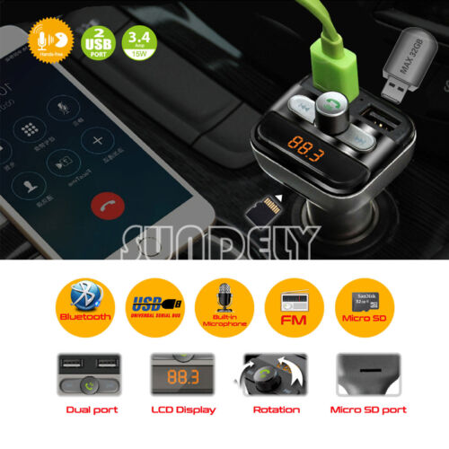 Bluetooth Car Kit Wireless FM Transmitter Dual SD USB Charger Audio MP3 Player