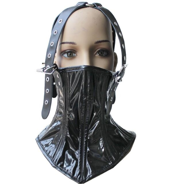 Womens PVC Leather Hood Mask Neck collar Restraints head Harness Corset Costume