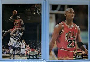 Lot-of-2-1992-92-93-TOPPS-STADIUM-CLUB-Michael-Jordan-1-amp-210-Members-Choice