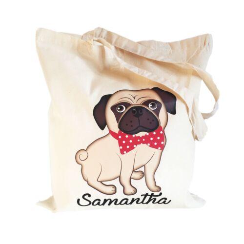 Pug Dog Cotton Shopping Tote Bag Ladies Girls Personalised