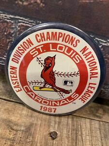 Vintage-St-Louis-CARDINALS-Eastern-Division-Champions-1987-Pinback-3-1-2-034-Button