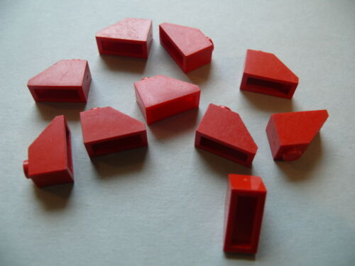 """Lego 10 toits rouges annees 60 sans pion 10 red slope 45° old /""""pat pend/"""""""
