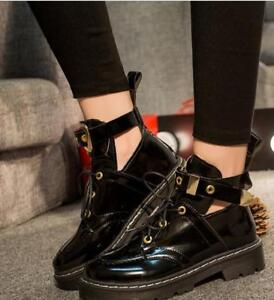 Womens-Ankle-Boots-Lace-Up-Buckle-Chunky-Heel-Creepers-Casual-PU-Leather-Shoes