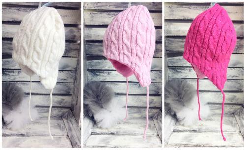 Kids Girl Knitted Winter Hat Cute Warm Tie Up /'/'Pretty/'/' 46-48cm