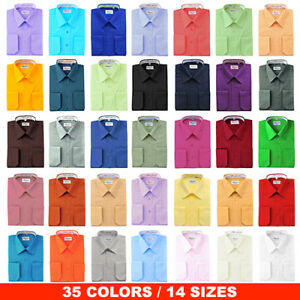 Berlioni-Italy-Men-039-s-Regular-Convertible-Cuff-Solid-Colors-Dress-Shirts