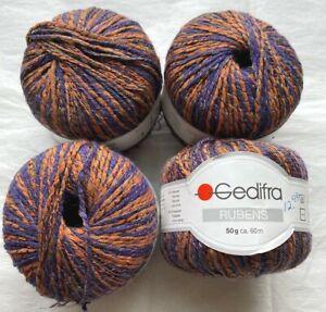 Gedifra Rubens 60 Meters Orange Blue Combo Yarn Made in Italy