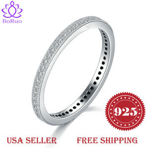 2MM-925-Sterling-Silver-Ring-Boruo-Cubic-Zirconia-CZ-Wedding-Band-Ring-Size4-12