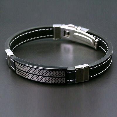 Men Dedicated Nice Black Stainless Steel Rubber Wristband Bangle Boys Bracelet