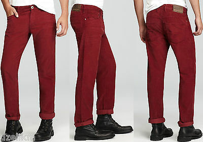 NWT Hugo Boss Orange Label by Hugo Boss Cords Trousers in Burgundy Size 36X32